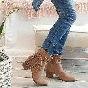 NIB-SLOUCHY TAUPE SUEDE ANKLE BOOTS w/WRAPD FRINGE